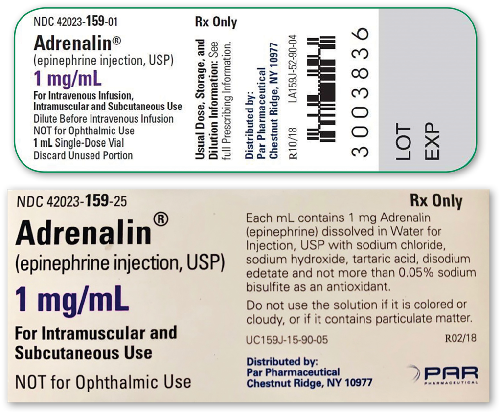 Figure 2: Manufacturing information provided for single-use (sulfite-containing) vials of epinephrine. First image provides information available on vial and second image provides more detailed information available on the product box.